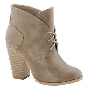 Taupe Leather Chunky Heel Booties Lace Up